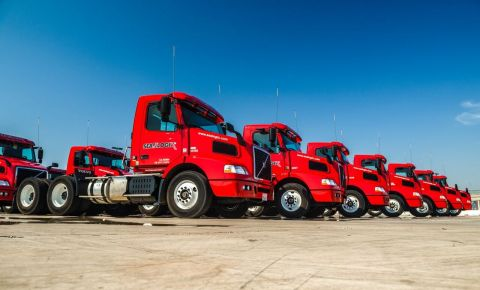 Sea-Logix's brand new fleet of Volvo tandem axle tractors leased from Ryder. (Photo: Business Wire)