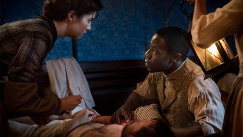 McKinley Belcher III as Samuel Diggs and Mary Elizabeth Winstead as Nurse Mary Phinney. Courtesy of Antony Platt/PBS.