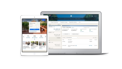 Chase.com home page and accounts view (Graphic: Business Wire)