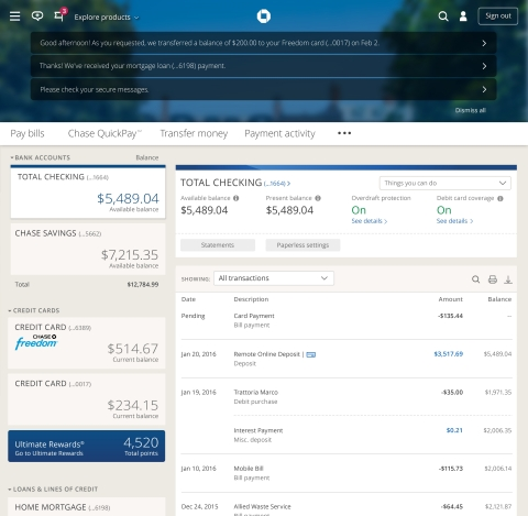 Chase.com accounts view (Graphic: Business Wire)