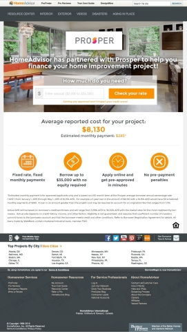 Prosper Marketplace and HomeAdvisor Bring Home Improvement Financing to Millions (Graphic: Business  ...