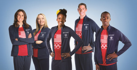 24 Hour Fitness announces partnership with five Team USA Athletes pictured from left to right: Gwen Jorgensen, Cortney Jordan, Alysia Montaño, Conor Dwyer and Lex Gillette. (Photo: Business Wire)