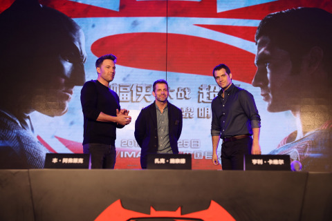 Ben Affleck, director Zack Snyder and Henry Cavill at a Chinese press conference for Warner Bros. Pictures' Batman v Superman: Dawn of Justice, held in Beijing, China, on Friday, March 11, 2016. (Photo: Business Wire)