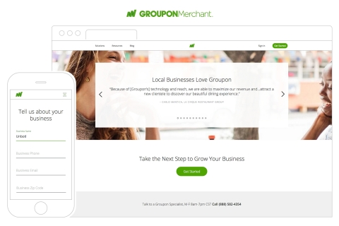 Enhanced browsing, mobile responsive interface and information about Groupon solutions sorted by merchant categories and business goals to make it easier for local businesses to find the information they need to make informed marketing decisions. (Graphic: Business Wire)