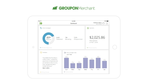 The new Groupon Merchant tablet app works in tandem with existing web and mobile tools so merchants can track and manage their Groupon campaigns across all of their devices. (Graphic: Business Wire)