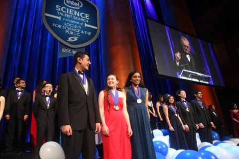 Intel Science Talent Search first place winners Amol Punjabi (Mass.), Paige Brown (Maine) and Maya V ...