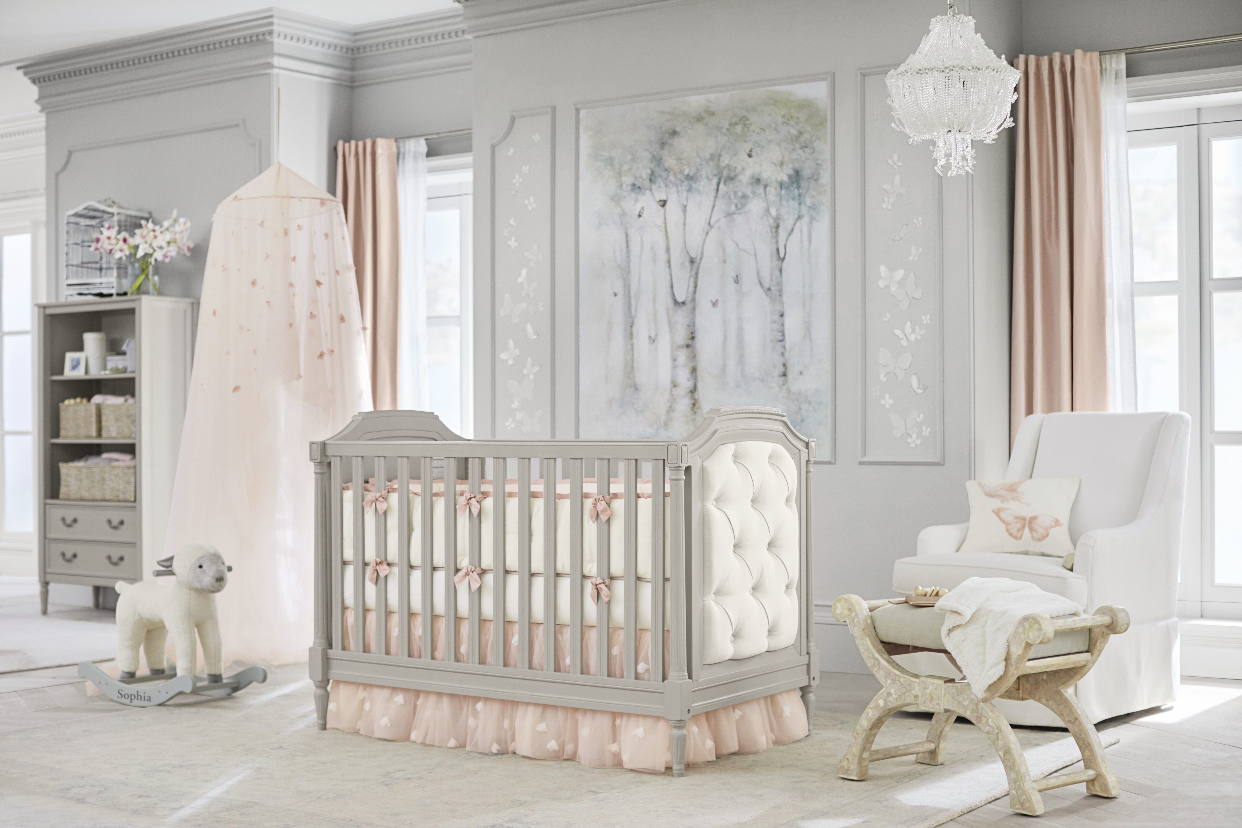 sophia nursery from the monique lhuillier pottery barn kids collection debuting today online and - Pottery Barn Babies Room