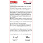 Staples issues an open letter to customers.
