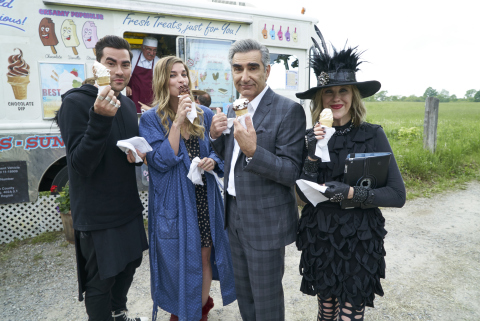 SCHITT'S CREEK is a fish-out-of-water character-driven comedy that stars Emmy® award winners Eugene Levy, Catherine O'Hara and Chris Elliott alongside rising talent Daniel Levy and Annie Murphy. (Photo: Business Wire)