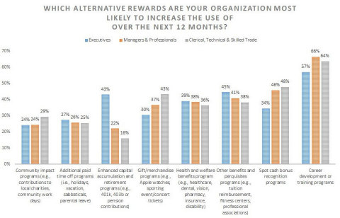 Which Alternative Rewards Are Your Organization Most Likely to Increase the Use of Over the Next 12 Months? (Graphic: Business Wire)