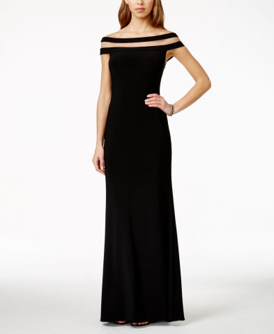 Betsy & Adam off-the-shoulder illusion gown, $199, available at select Macy's stores and on macys.com (Photo: Business Wire)