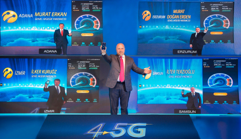 Turkcell CEO Kaan Terzioglu (center) announced Turkcell's readiness for country-wide 4.5G service in Istanbul. Terzioglu was joined by 4 Turkcell executives in 4 different cities of Turkey. (Photo: Business Wire)