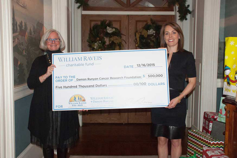 (Left to right) Lorraine Egan, President and CEO of the Damon Runyon Cancer Research Foundation, and Meghan Raveis, Managing Director of the William Raveis Charitable Fund (Photo: Business Wire)