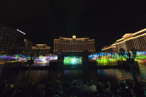 "Panasonic projectors were used at the Kabuki Spectacle at Fountains of Bellagio: Koi-Tsukami ""Fight with a Carp"" organized in Las Vegas to project images onto one of the world's largest water screens. (Photo: Business Wire)"