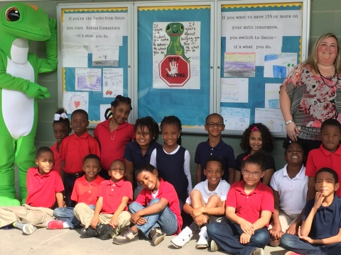 Ms. Danielle Barton's second-grade class wins school-wide poster contest with Gecko inspired anti-bullying campaign. (Photo: Business Wire)