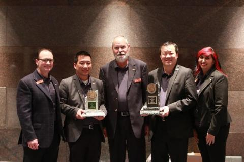 The Hestan Outdoor team proudly accepted two Vesta Awards in Outdoor Room Products (Best in Show) and Gas Barbecues Categories (Photo: Business Wire)