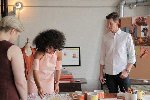 Solange Knowles and the BigCommerce team working on the design of store.saintheron.com (Photo: BigCommerce)