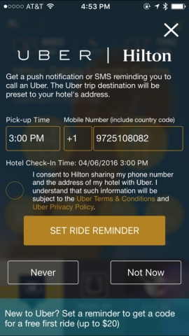Hilton / Uber App Integration (Graphic: Business Wire)