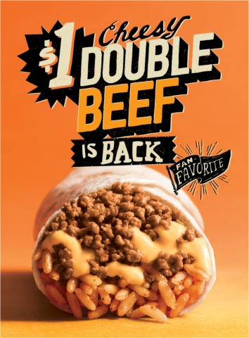 The Cheesy Double Beef Burrito and Beefy Crunch Burrito will kick off the return of Taco Bell's Fan Favorite menu items. (Graphic: Business Wire)