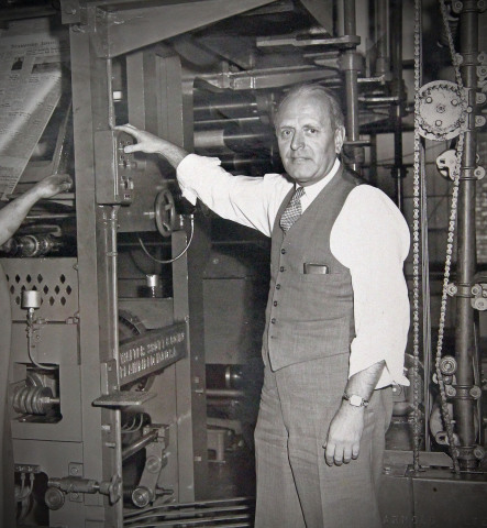 Kingsley Gillespie on press in 1952 (Photo courtesy of The Advocate)