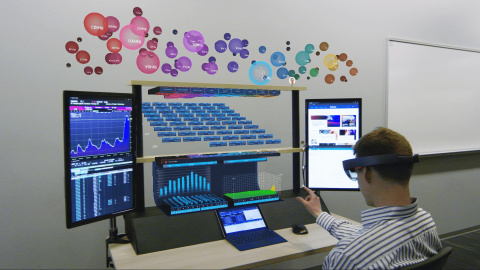 8ninths, a Microsoft Holographic Academy graduate, partnered with the Citi Innovation Lab to think disruptively in envisioning a mixed reality evolution of the trading workstation using HoloLens. (Photo: Business Wire)
