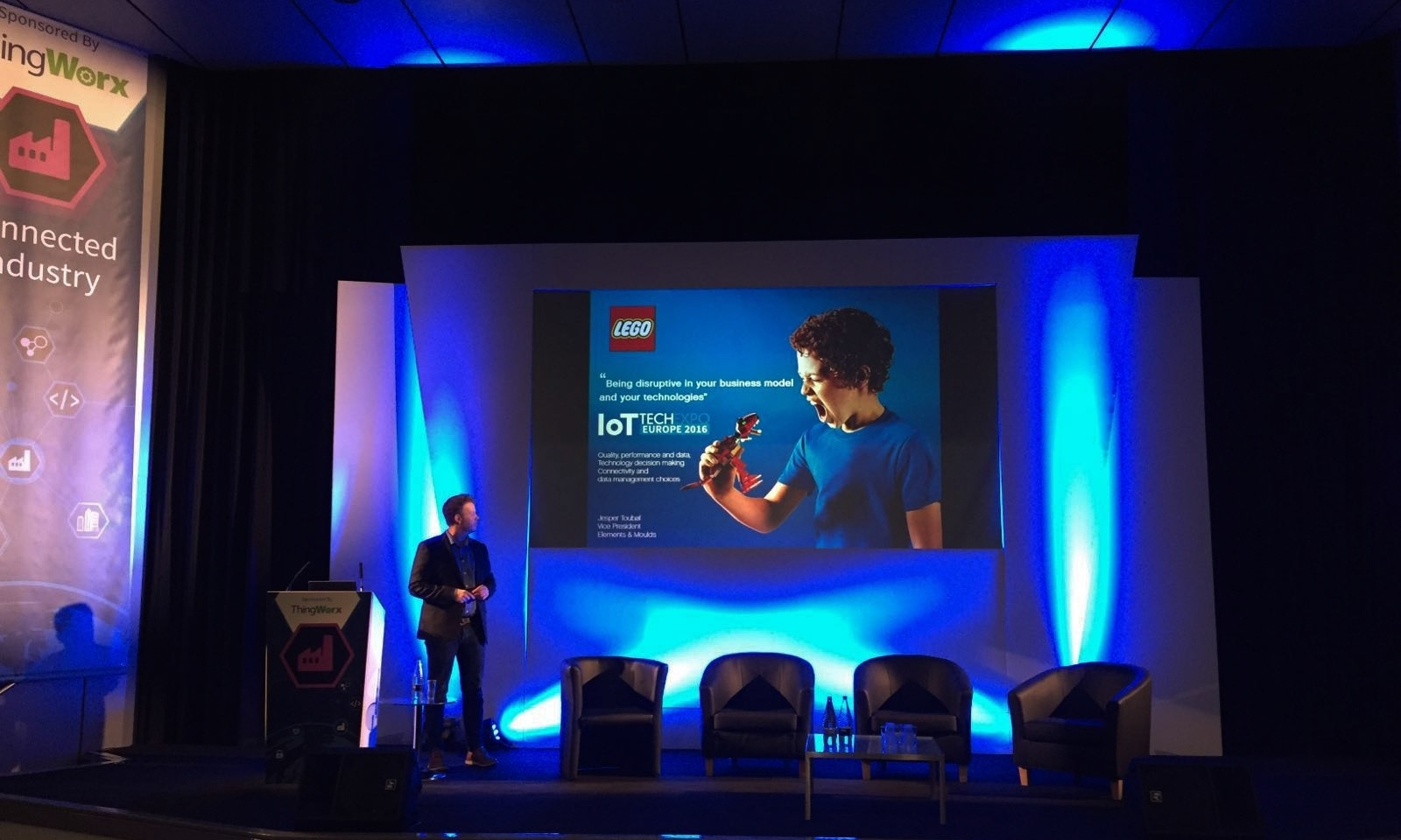 Jesper Toubol, LEGO speaking within the Connected Industry conference at the IoT Tech Expo in London this February (Photo: Business Wire)