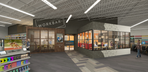 Staples and Workbar announce a new collaboration to offer shared work spaces within select Staples retail locations. The first three custom-designed Workbar spaces at Staples will be opening in Danvers, Norwood and Brighton in late spring, and will offer a mix of high-end workspaces, conference rooms, private phone rooms and more. Shown, an artist rendering of the Brighton location. (Image credit: Staples/Workbar)