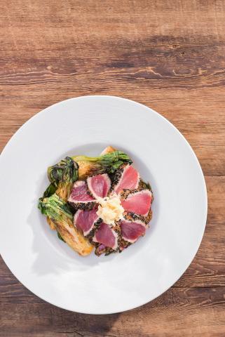 Sesame-crusted, wild-caught Ahi tuna steak and seared baby bok choy ...