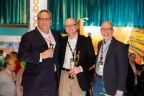 (L-R): Rick Howard, CSO, Palo Alto Networks, congratulates Jack Freund and Jack Jones, co-authors of Measuring and Managing Information Risk: A FAIR Approach. The book was inducted into the Cybersecurity Canon at an awards dinner held at Palo Alto's annual user conference: Ignite 2016 in Las Vegas. Established by Howard, the Cybersecurity Canon aims to promote the continued education of cybersecurity professionals by providing a curated list of both fiction and non-fiction works that advance the discussion of modern industry issues. (Photo: Business Wire)