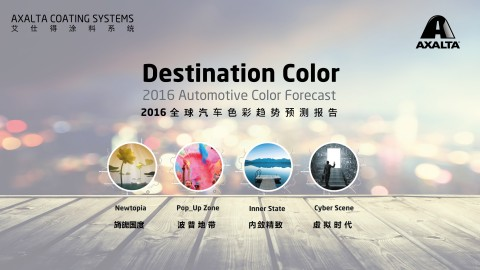 Axalta's color trends presented in Destination Color 2016 are grouped into four color destinations that reflect megatrends: Newtopia, Pop_up Zone, Inner State and Cyber Scene that reflect an array of colors for consumers with different personal tastes and styles as well as vehicle preferences. (Graphic: Axalta)