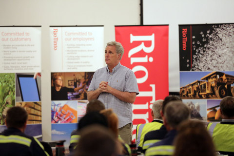 House Majority Leader Kevin McCarthy talked world trade with employees of Rio Tinto Minerals (RTM) during a town hall meeting April 7 in Boron, California. (Photo: Business Wire)