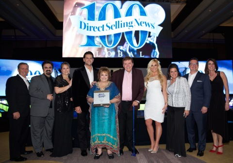 Scott Lewis (CVO), Wendy Lewis (COO), Randy Ray (CEO) and members of the Jeunesse executive team at seventh annual DSN Global 100 Gala (Photo: Business Wire)