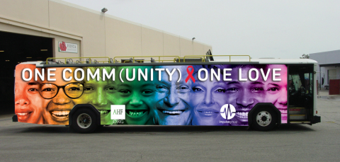 """AHF's """"One Comm(unity), One Love"""" bus will appear in Pride parades across the country. (Photo: Business Wire)"""