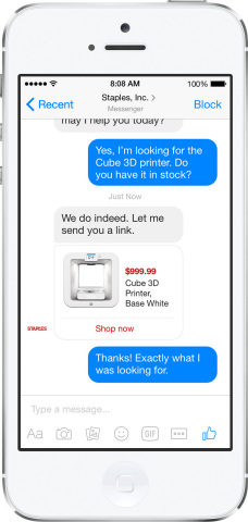 Facebook Messenger functionalities on Staples' mobile website, allowing customers to use Messenger to enhance their shopping session. (Photo: Business Wire)