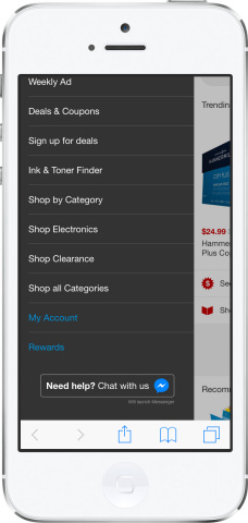 Messenger is always available for customers to engage in a chat with Staples. (Photo: Business Wire)
