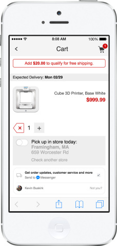 From the cart screen on m.Staples.com customers can use Messenger to get order updates and access customer service.(Photo: Business Wire)