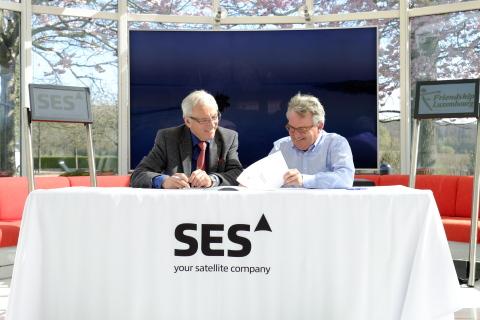 Gerhard Bethscheider Managing Director at SES Techcom Services and Marc Elvinger CEO Friendship Lux ...