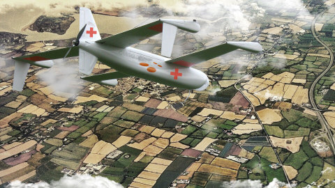 The Airbus Cargo Drone Challenge is a global co-creation challenge to identify the next generation of commercial drone technology. This rendering showcases a cargo drone being used for medical aid. (Photo: Business Wire)