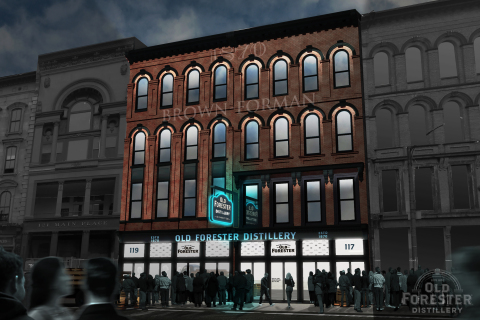 Old Forester Distillery (front of building) at night. West Main Street, Whiskey Row, Louisville, KY. (Photo: Business Wire)