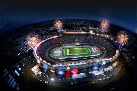 This coming September, Bristol Motor Speedway will transform one of the nation's most-loved short tracks into a premier neutral-site football field for the Pilot Flying J Battle at Bristol, College Football's Biggest-Ever Game. A historic matchup between the University of Tennessee and Virginia Tech is expected to shatter all previous attendance records, hosting crowds in excess of 150,000. (Photo: Business Wire)