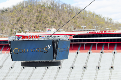 It took 200 workers 155 days to complete Colossus, a feat that included assembling approximately 700 tons of footings, framing, towers and cabling. The screens first came to life Monday, April 11, 2016, and will dazzle fans at the NASCAR Sprint Cup Food City 500. (Photo: Business Wire)