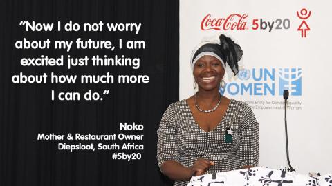 南アフリカのディップスルアットで5人の子どもを養育しながらレストランを経営しているノコさんは、コカ・コーラの5by20プログラムとUNウィメンが提供するワークショップで簿記、マーケティング、他のビジネススキルを学びました。ノコさんはプログラムのおかげで自信がつき、収益は2倍近く増加したと語ります。「時折私のビジネスについて振り返り、どれほど成長したかを実感すると、誇らしい気持ちがあふれてきて泣きそうになります。今はもう、将来について不安に感じることはありません。これからどれほど多くのことを達成できるか考えを巡らせて、ワクワクしています。」(写真:ビジネスワイヤ)