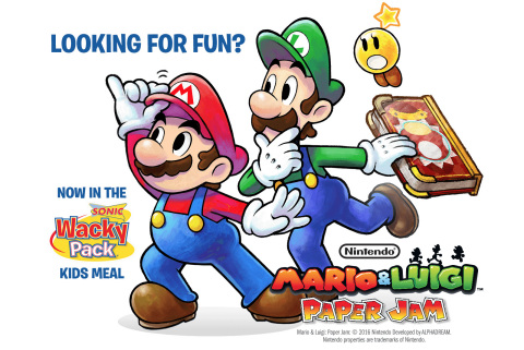Folks that visit a SONIC® Drive-In between April 19 and June 30 are in for a special Nintendo treat. By ordering a Wacky Pack® – a kids meal that includes a selection of popular items like hot dogs, chicken strips, apple slices and juice – visitors will receive a colorful toy based on the Mario & Luigi: Paper Jam game for the Nintendo 3DS system. (Graphic: Business Wire)