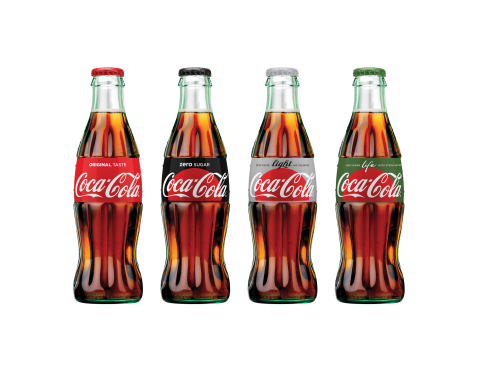 "Coca-Cola ""One Brand"" Packaging - 8oz glass bottle line up (Photo: Business Wire)"