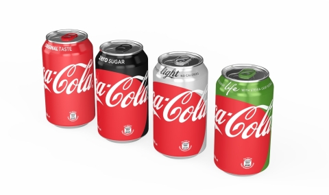 "Coca-Cola ""One Brand"" Packaging - 355ml can line up (Photo: Business Wire)"
