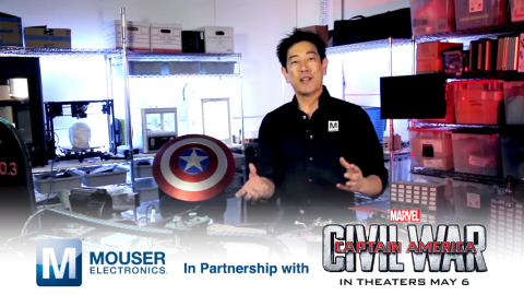 Global distributor Mouser Electronics and engineer spokesperson Grant Imahara are teaming up with Marvel Entertainment to build Super Hero technology straight from the movie Captain America: Civil War. The new program is part of Mouser's popular Empowering Innovation Together Series. To learn more about the cool Super Hero technology, visit www.mouser.com/empowering-innovation. (Photo: Business Wire)