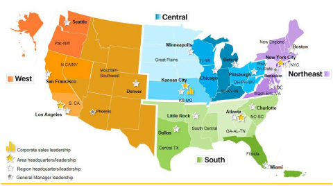 The South geographic area covers Alabama, Arkansas, Florida, Georgia, Louisiana, Mississippi, North Carolina, Oklahoma, South Carolina, Tennessee, and Central Texas. (Graphic: Business Wire)