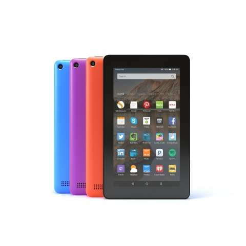 Amazon Fire in blue, magenta, tangerine and black. (Photo: Business Wire)