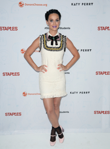 Global pop star Katy Perry at the #StaplesForStudents press conference on Thursday, April 21, 2016, in Los Angeles. Continuing its long-standing commitment to celebrating and supporting teachers through the Staples for Students program, Staples teamed up with Katy Perry to announce a $1 million donation to DonorsChoose.org, a charity that has funded more than 700,000 classroom projects and impacted more than 18 million students across the U.S. (Photo: Business Wire)