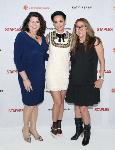 Global pop star Katy Perry, center, with Alison Corcoran, SVP, North American Stores and Online Marketing for Staples, left, and Carolina Martin, SVP, Business Development for DonorsChoose.org, right, at #StaplesForStudents Staples press conference on Thursday, April 21, 2016, in Los Angeles. Continuing its long-standing commitment to celebrating and supporting teachers through the Staples for Students program, Staples teamed up with Katy Perry to announce a $1 million donation to DonorsChoose.org, a charity that has funded more than 700,000 classroom projects and impacted more than 18 million students across the U.S. (Photo: Business Wire)